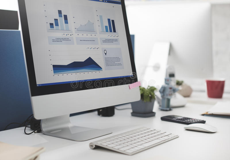 Workspace Working Desk Accounting Analysis Concept stock photos