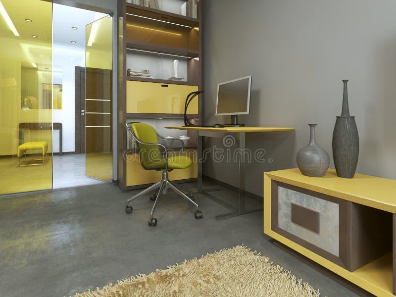 Workspace z stołem w nowożytnym żywym pokoju ilustracji