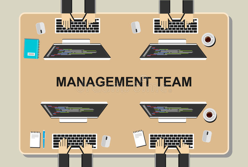 Workspaceillustration Kontorsworkspacebegrepp Plana designillustrationbegrepp för teamwork, lag, möte, diskussion, worki royaltyfri illustrationer