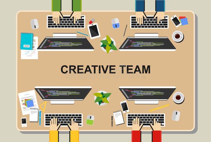 Workspaceillustration Kontorsworkspacebegrepp Plana designillustrationbegrepp för teamwork, lag, möte, diskussion, worki stock illustrationer