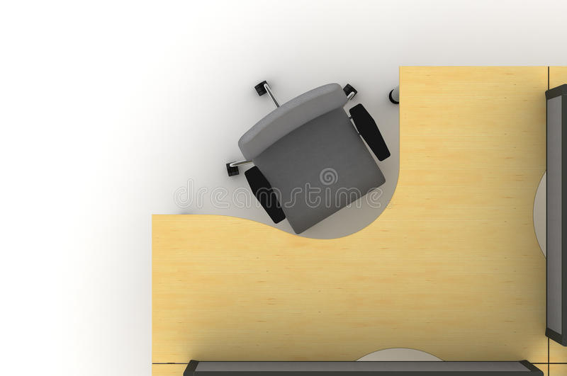 Workstation Table-3d Illustration Royalty Free Stock Photos