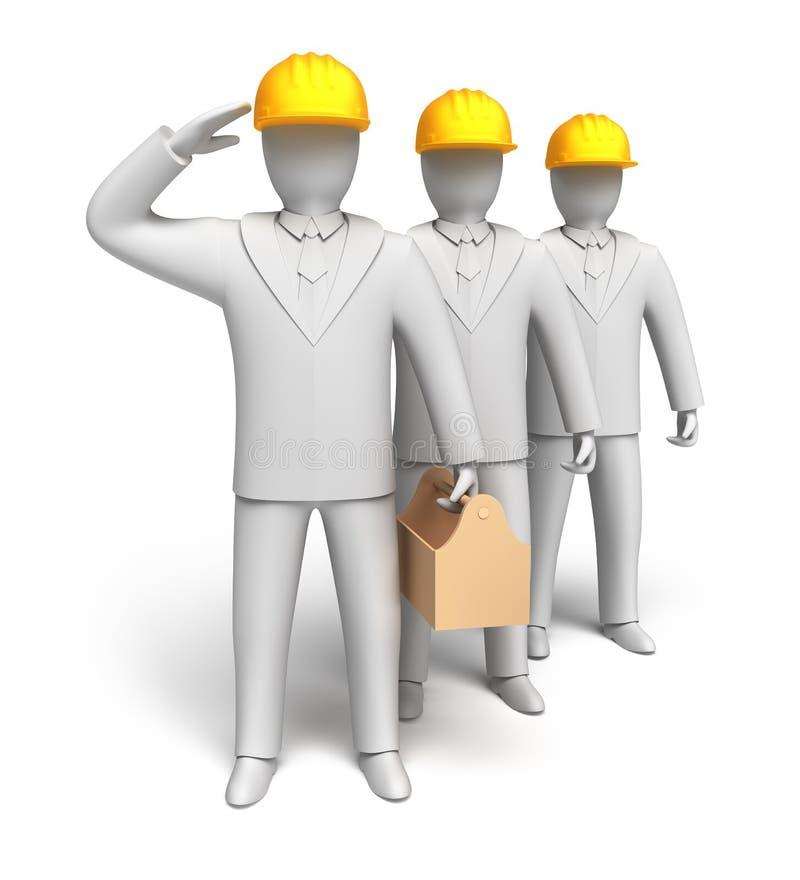 Workteam betriebsbereit zu arbeiten stock abbildung