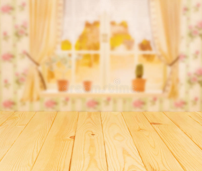 Worktop from light wood in front of kitchen window royalty free stock photos