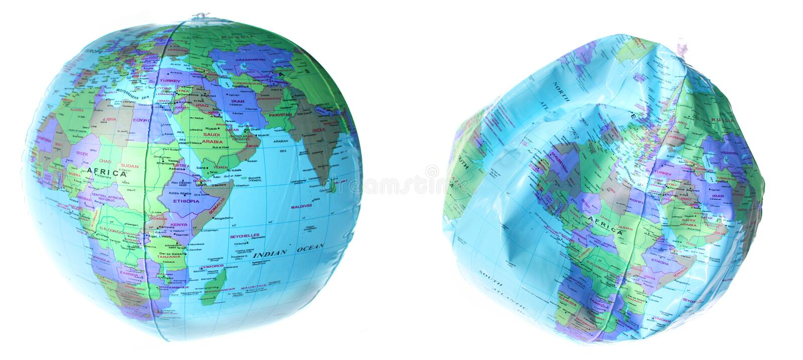 Worl earth catastrophe. Globe blown up and punctured. earth trouble isolated on white, environmental global issues royalty free stock images