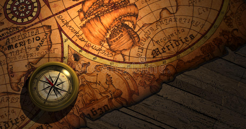 Download Worl Map stock illustration. Image of light, boat, treasure - 20938006