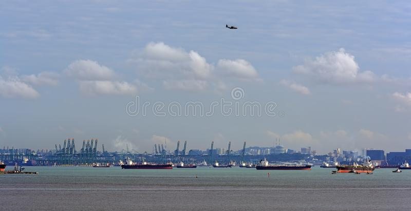 World's busiest shipping lane - Straits of Malacca and Singapore. Congested traffic in the narrow passageway in the Straits of Singapore, the world royalty free stock photo