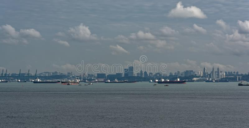 World's busiest shipping lane - Straits of Malacca and Singapore. Congested traffic in the narrow passageway in the Straits of Singapore, the world royalty free stock images
