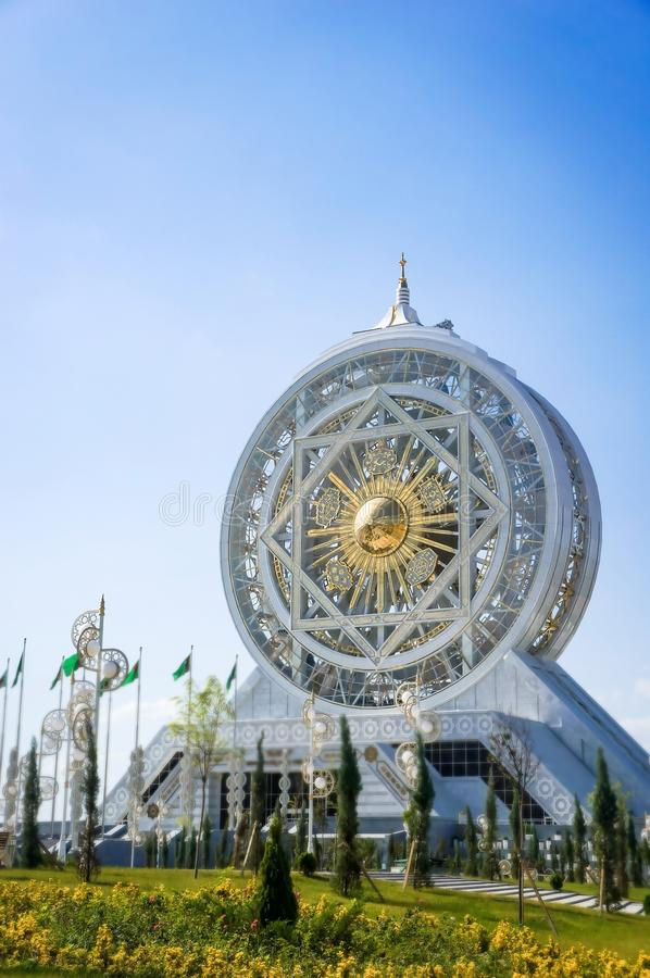 World's tallest ferris wheel in an enclosed space of white marble-clad, Turkmenistan stock images