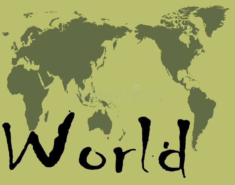 World. Green world map, complete world map on green background color stock illustration