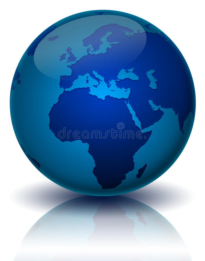 World. Illustration of the world in blue