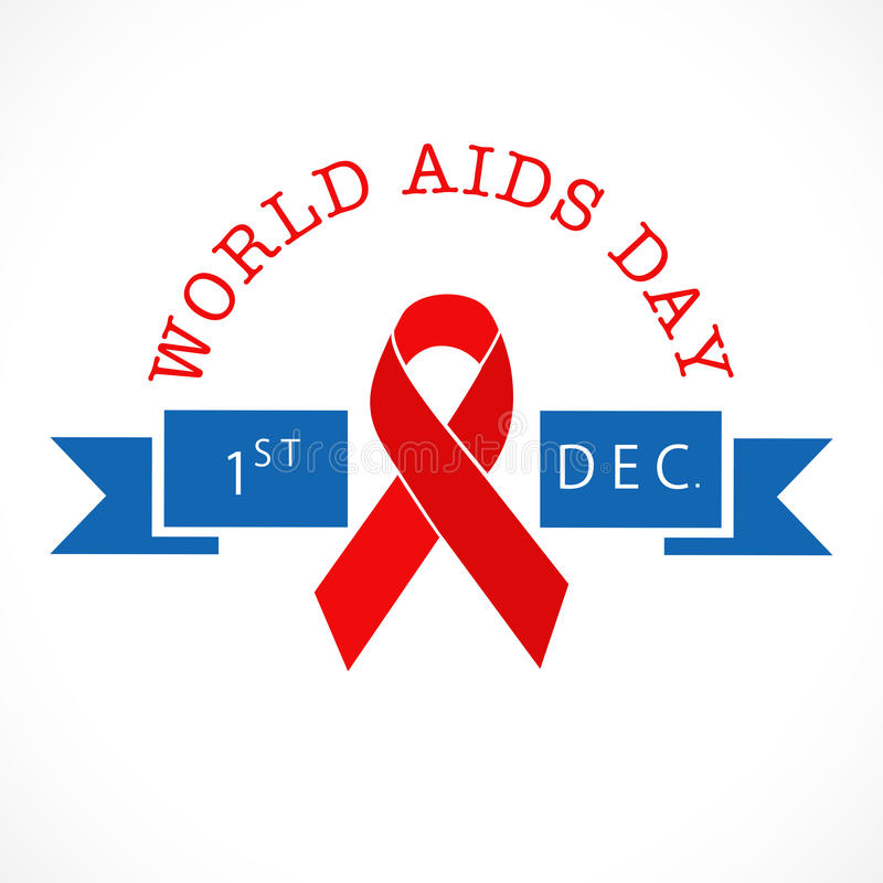 World Aids awareness Day poster with red aids ribbon. 1st December, World Aids Day concept with red ribbon of aids awareness with text on blue ribbon stock illustration