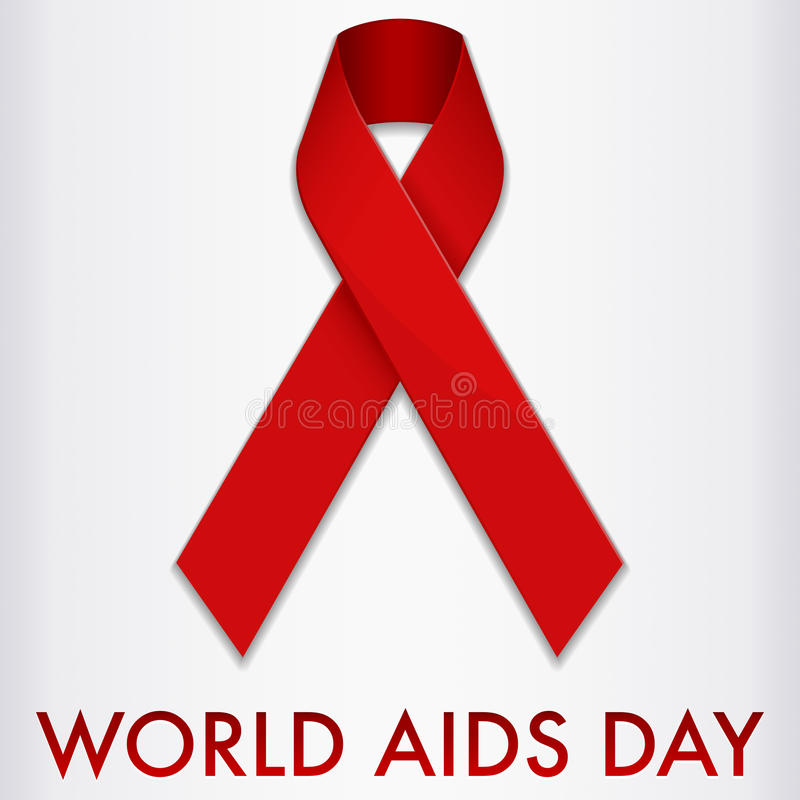 World Aids Day Banner. An illustration of a red ribbon promoting awareness of AIDS and HIV. Background placed on separate layer vector illustration