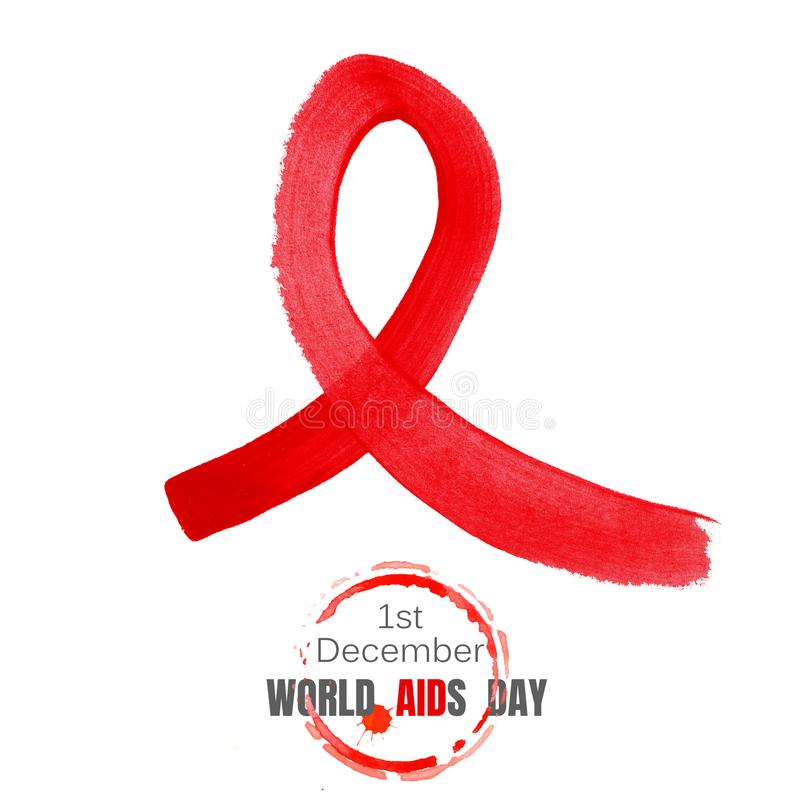 World aids day banner with hand drawn ribbon royalty free stock photography