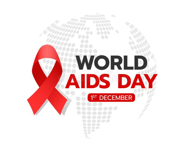 World aids day banner with red ribbon sign and text on circle abstract dot world texture background vector design royalty free illustration