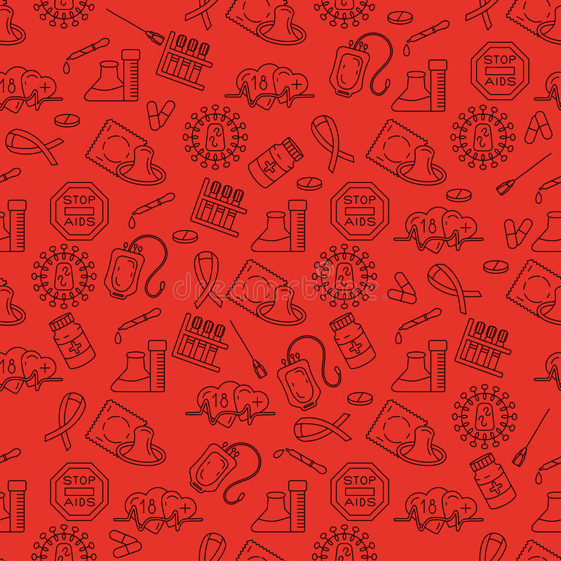 World Aids Day concept. Medical HIV Aids seamless pattern with detailed pictograms . World Aids Day concept. Vector illustration royalty free illustration
