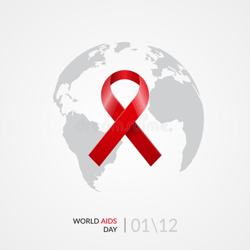 World Aids day concept. Realistic red ribbon on grey world globe background. Vector illustration royalty free illustration