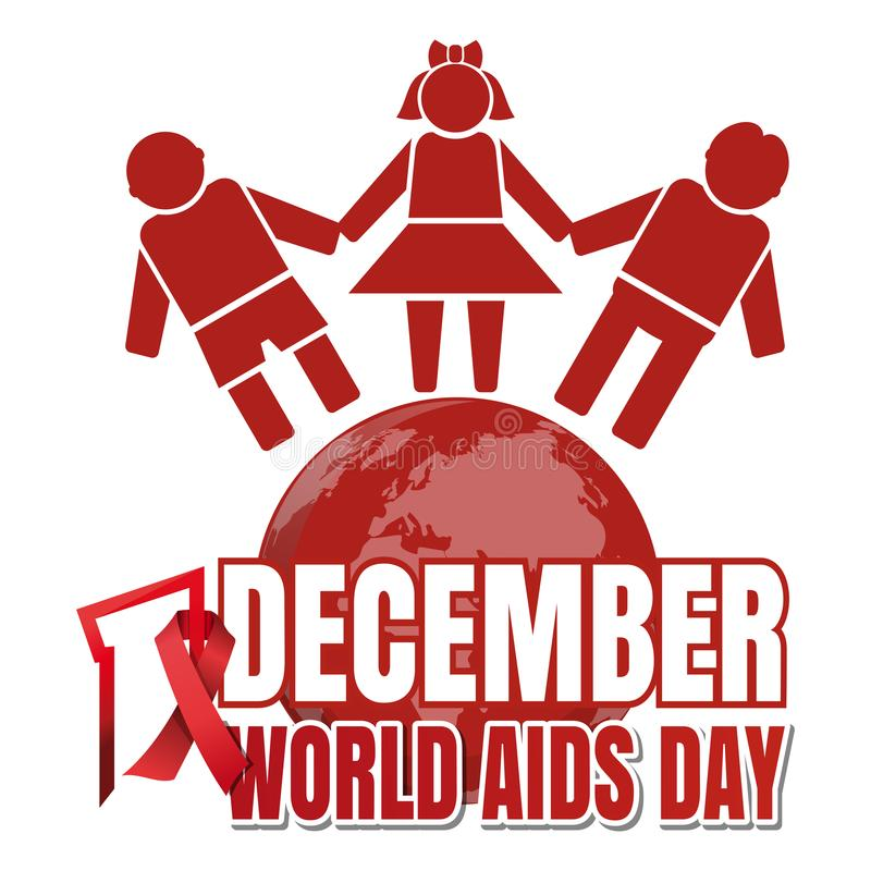 World Aids Day design. World Aids Day. 1 December. Red ribbon of AIDS awareness and globe with people. World Aids Day concept. Vector illustration royalty free illustration