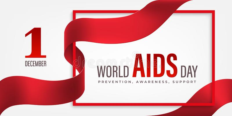 World Aids Day horizontal banner with red ribbon and flower stock photo