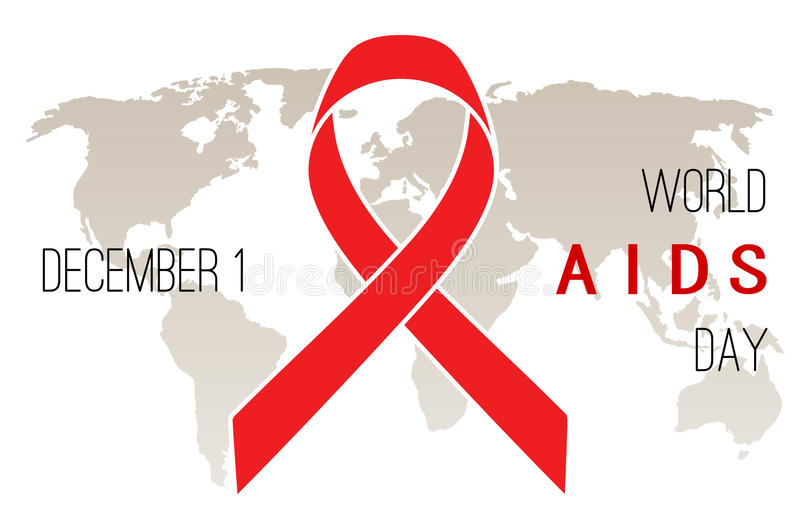 World AIDS Day poster. Red ribbon on a white background stock illustration