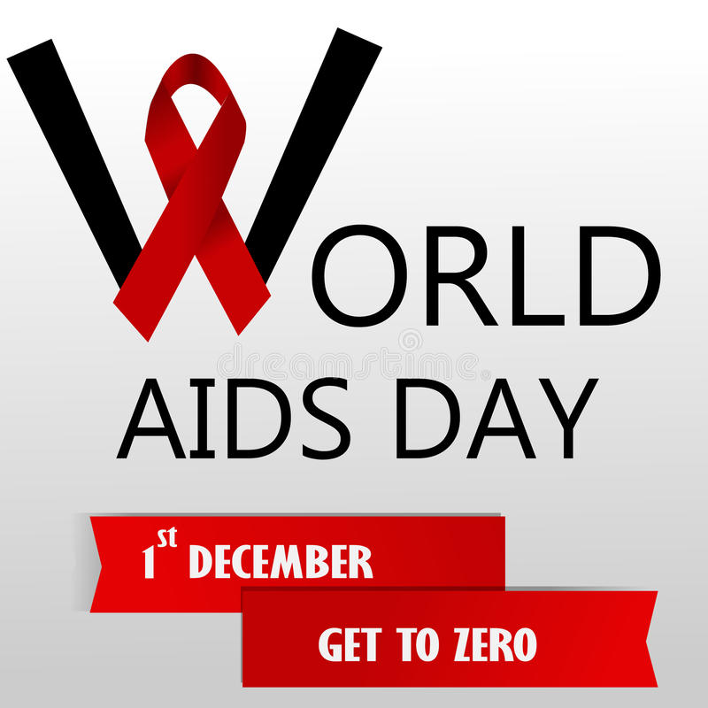 World aids day. With red ribbon royalty free illustration