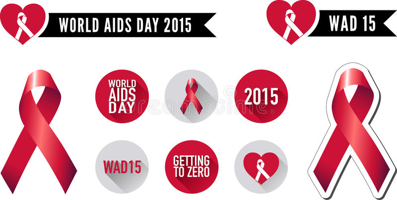 World AIDS Day Ribbon and Icon Set. Vector graphic ribbons and flat icons commemorating World AIDS Day 2015 vector illustration