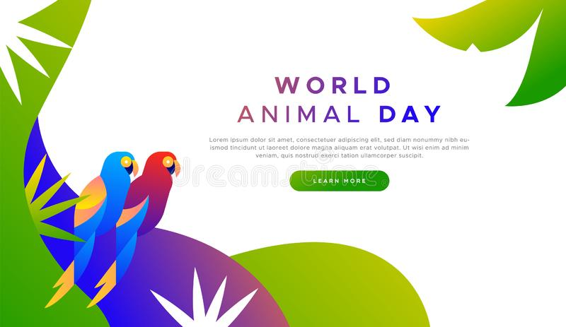 Animal day landing page template of exotic birds stock illustration