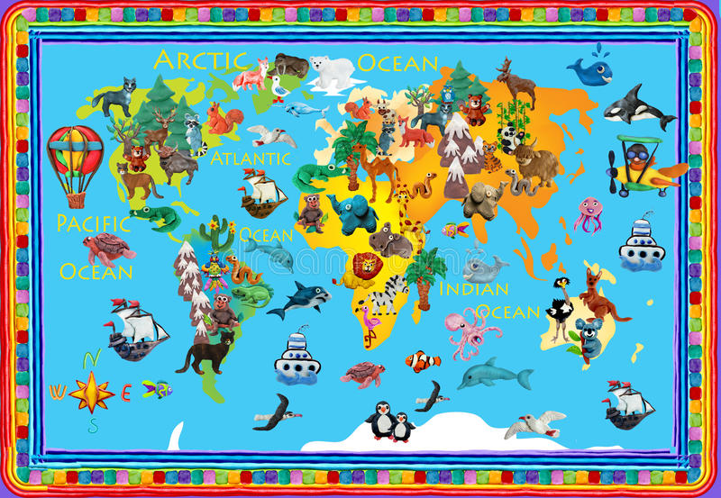World animals plasticine colorful kids 3d map. World plasticine colorful kids 3d map stock illustration