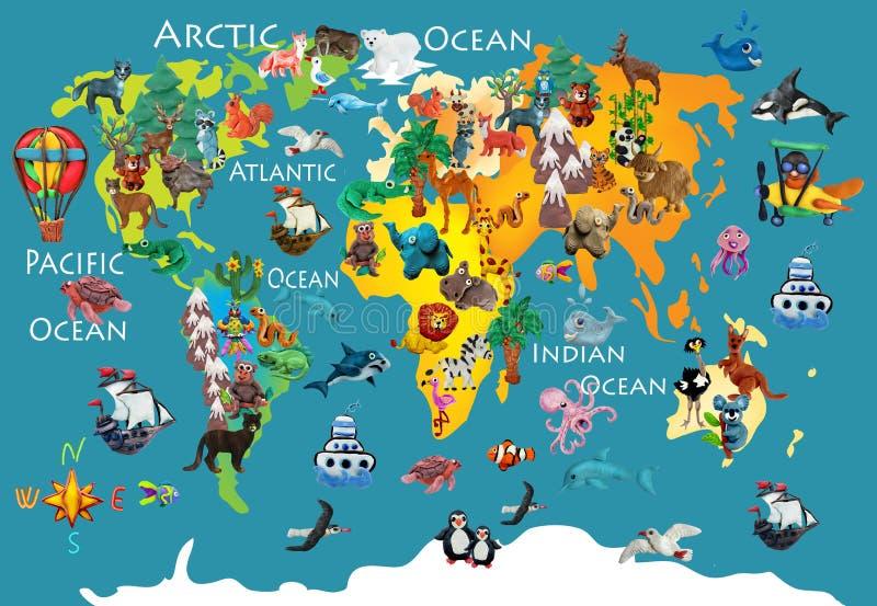 World animals plasticine colorful kids 3d map vector illustration
