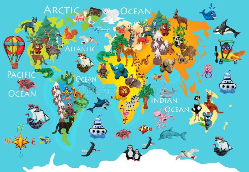 World animals plasticine colorful kids 3d map royalty free illustration