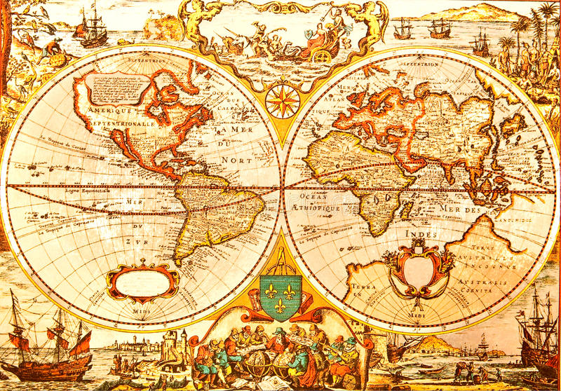 World Antique Map stock photography