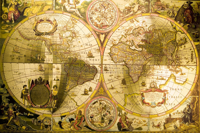 World Antique Map. Map is a drawing or plan of the surface of the earth that shows countries, mountains, roads, etc stock image