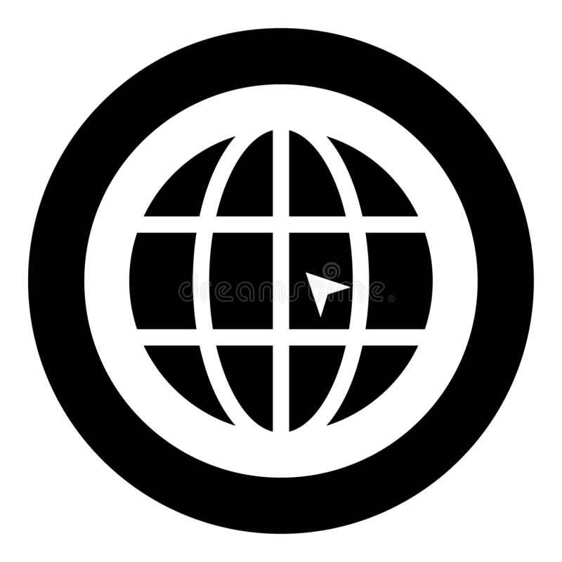 World with arrow world click concept website icon black color illustration in circle round royalty free illustration