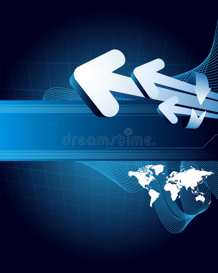 World and arrows on the blue background royalty free illustration
