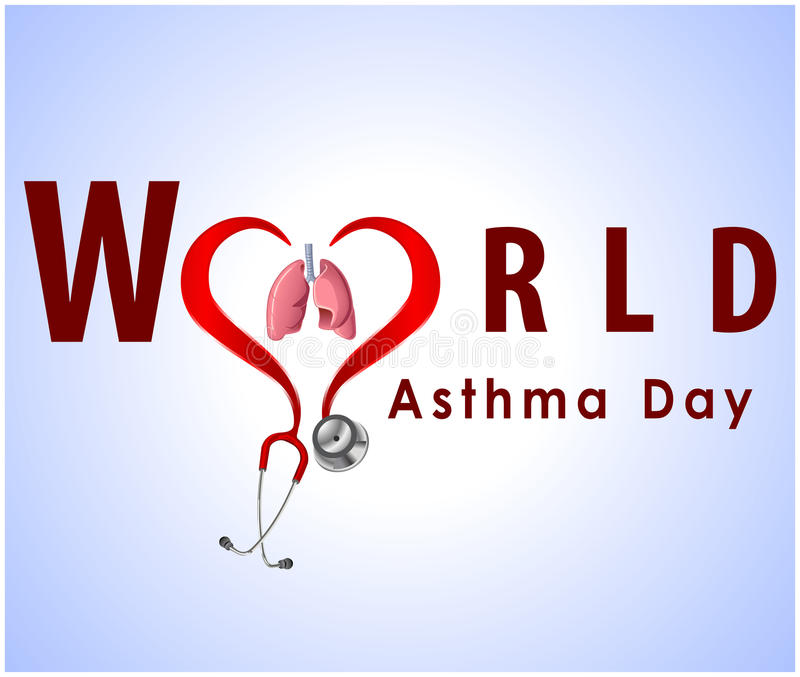 World asthma day background with lungs and stylish text on blue background- vector eps 10 stock illustration