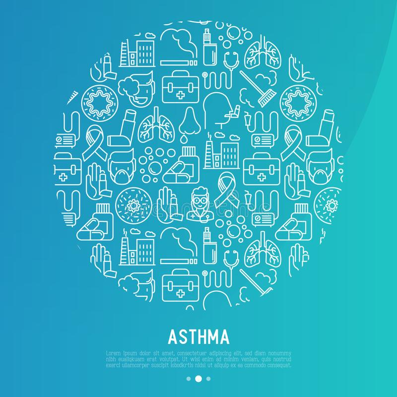 World asthma day concept in circle royalty free illustration