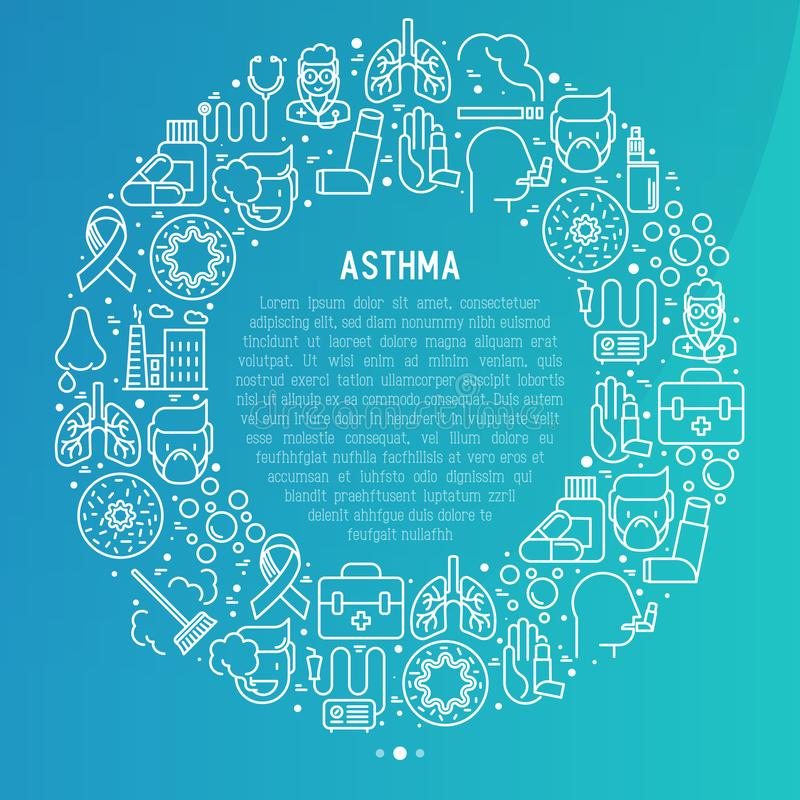 World asthma day concept in circle stock illustration