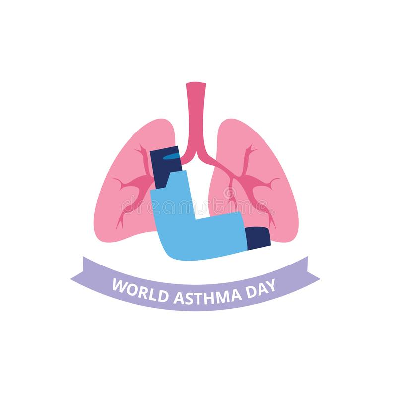 World Asthma Day concept with spray inhaler and human lungs flat style. Vector illustration isolated on white background. Poster or banner design of bronchial royalty free illustration