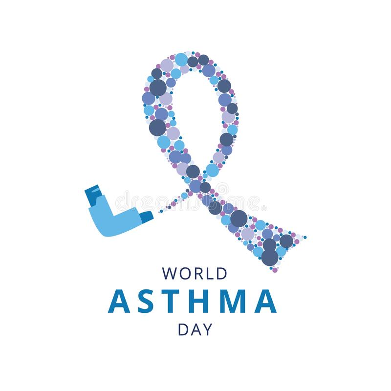 World Asthma Day concept with spray inhaler and symbol loop flat style. Vector illustration isolated on white background. Poster or banner design with royalty free illustration