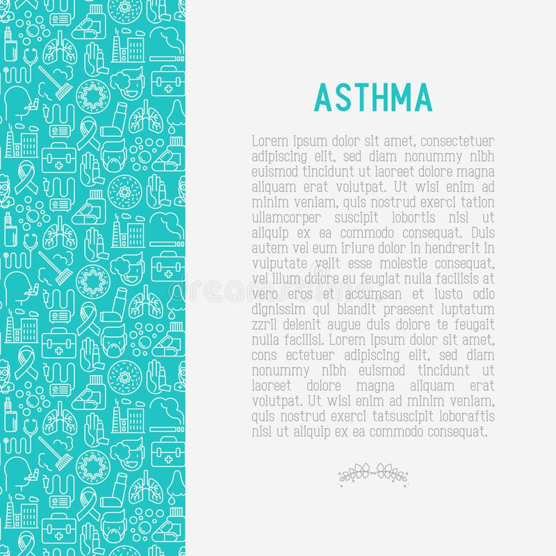 World asthma day concept with thin line icons. Air pollution, smoking, respirator, therapist, inhaler, bronchi, allergy symptoms and allergens. Vector vector illustration