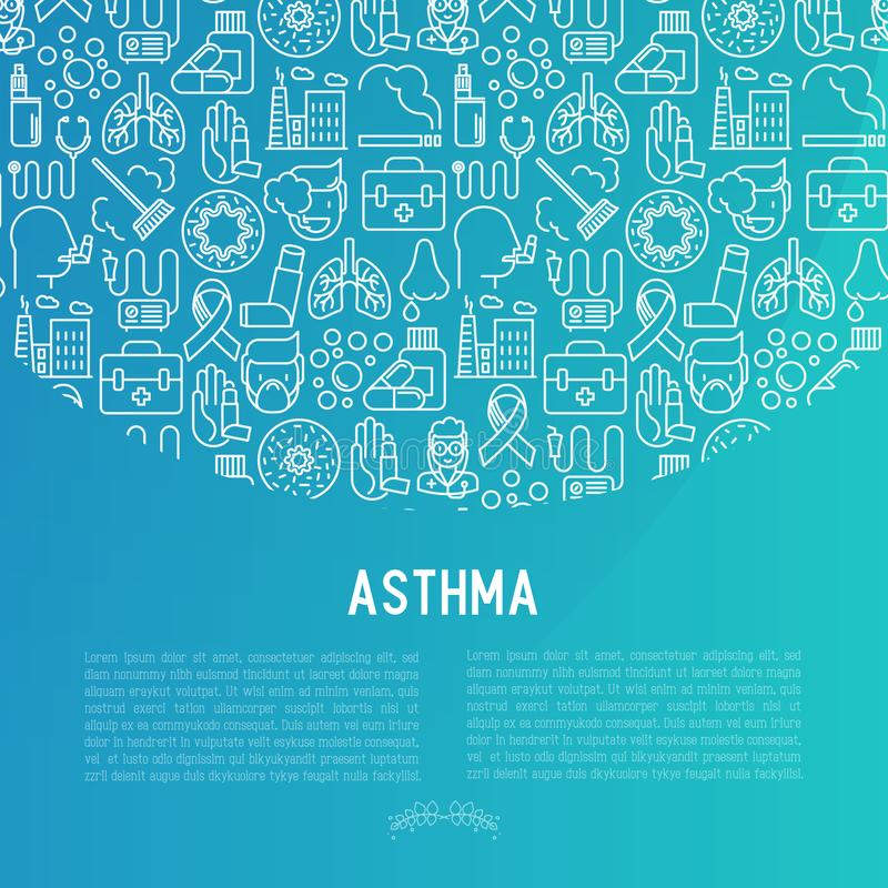 World asthma day concept with thin line icons. Air pollution, smoking, respirator, therapist, inhaler, bronchi, allergy symptoms and allergens. Vector royalty free illustration
