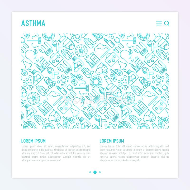 World asthma day concept with thin line icons royalty free illustration