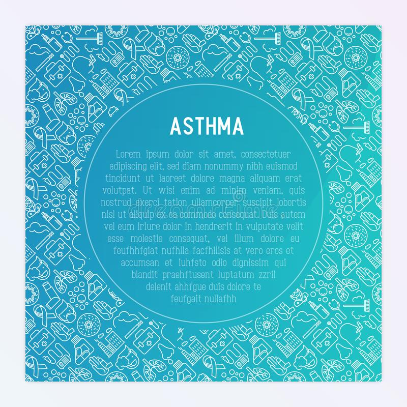 World asthma day concept with thin line icons. Air pollution, smoking, respirator, therapist, inhaler, bronchi, allergy symptoms and allergens. Vector stock illustration