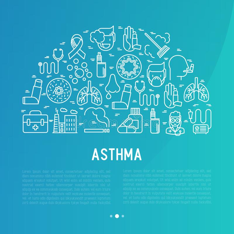 World asthma day concept with thin line icons stock illustration