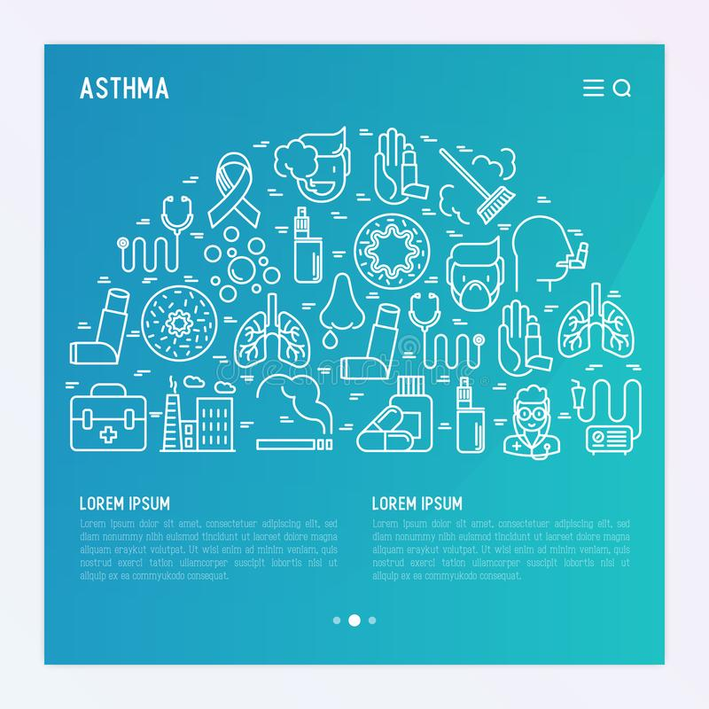 World asthma day concept with thin line icons vector illustration
