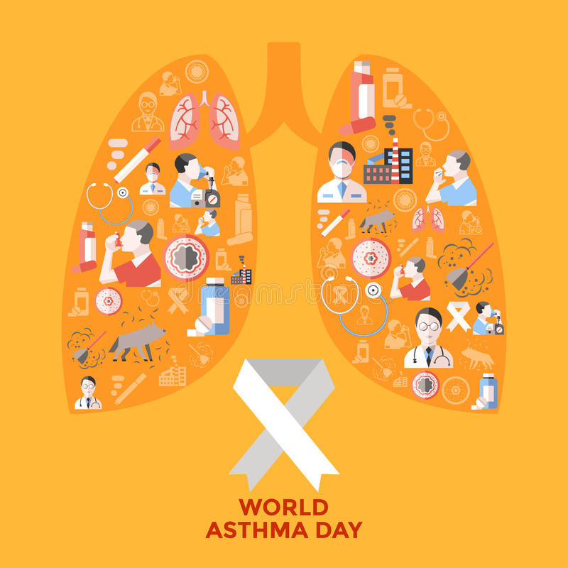 World Asthma Day Icons Set. In shape of lungs with respiratory therapy on yellow background vector illustration royalty free illustration