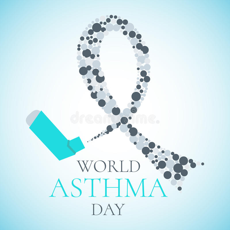 World Asthma Day poster. World Asthma Day concept with a spray inhaler and a grey ribbon. Bronchial asthma awareness sign. National asthma day. Asthma solidarity vector illustration