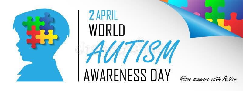 World autism awareness day. On April 2 background stock illustration