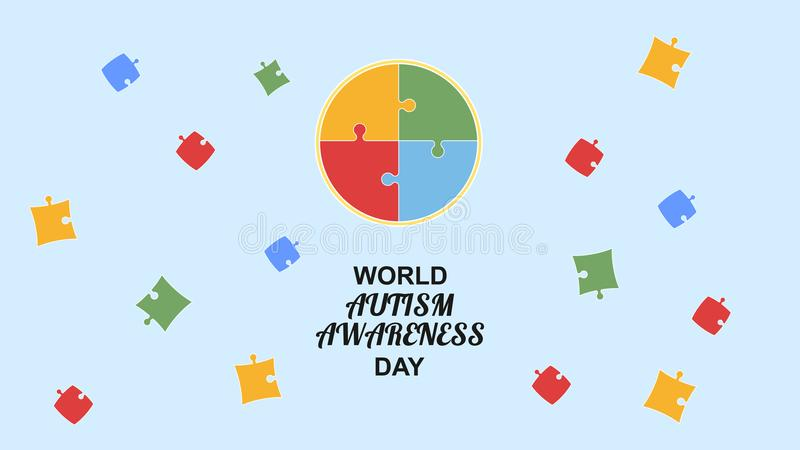 World autism awareness day. Poster colorful puzzle design sign. Vector illustration stock illustration