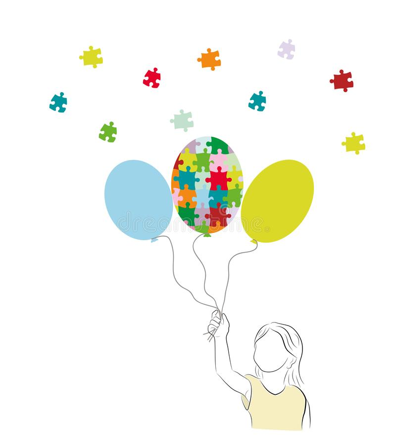 World Autism Day. Ð¡olorful balloon made of puzzle pieces. Three balloons isolated on white background. Vector illustration. World Autism Day. Ð¡olorful royalty free illustration