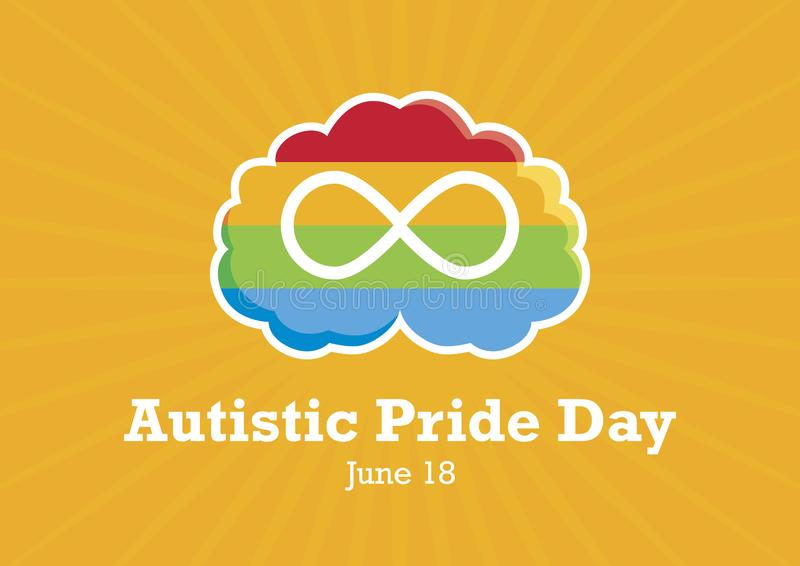Autistic Pride Day vector. World Autism Day. Rainbow brain with infinity symbol. Important day vector illustration